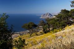 Monte Cofano in der Sommerzeit Sizilien, Italien Stockfotografie