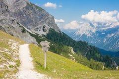 Monte cristallo massif - tourist path Royalty Free Stock Image