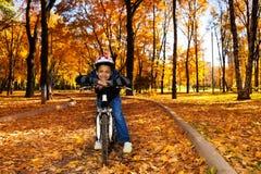 Monte d'un vélo à l'automne Photographie stock