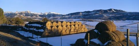 Monte de feno e montanhas de Cimarron imagem de stock royalty free