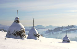 Monte de feno na aldeia da montanha Foto de Stock Royalty Free