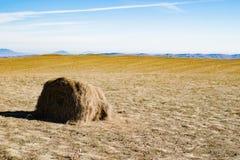Monte de feno no campo do outono, montanhas Imagens de Stock