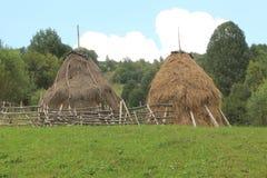 Monte de feno no parque nacional de Piatra Craiului, Romênia fotos de stock royalty free