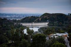 Monte de Hollywood no por do sol foto de stock