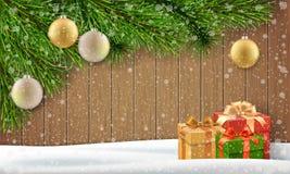 Monte de neve da bola do Natal do ramo de pinheiro em um fundo de madeira Ilustração do Vetor