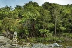 Monte de pedras que marca um cruzamento de córrego Parque nacional de Abel Tasman, Nova Zelândia fotografia de stock royalty free