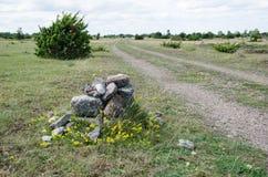 Monte de pedras velho por um lado da fuga Foto de Stock