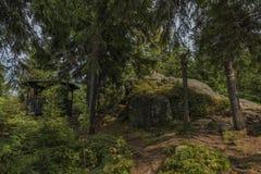 Monte de Spicak perto da cidade de Kraslice no meio do verão fotografia de stock royalty free