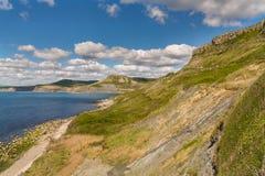 Monte do ` s de Emmett, trajeto da costa oeste sul, costa jurássico, Dorset, Reino Unido Imagem de Stock Royalty Free