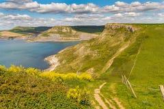 Monte do ` s de Emmett, trajeto da costa oeste sul, costa jurássico, Dorset, Reino Unido Fotografia de Stock