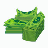 Monte dos pacotes com dinheiro Conceito do negócio e da operação bancária Ilustração EPS10 Isolado no fundo branco Dólares p do d Fotos de Stock