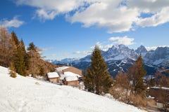Monte Elmo, Dolomites, Italy - Mountain skiing and snowboarding. Sexten Sesto, Trentino-Alto Adige, Puster Valley Alta Pusteria royalty free stock photos