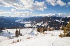 Monte Elmo, Dolomites, Italy - Mountain skiing and snowboarding. Sexten Sesto, Trentino-Alto Adige, Puster Valley Alta Pusteria. Monte Elmo, Dolomites, Italy royalty free stock images