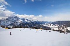 Monte Elmo, Dolomites, Italy - Mountain skiing and snowboarding. Sexten Sesto, Trentino-Alto Adige, Puster Valley Alta Pusteria royalty free stock photo