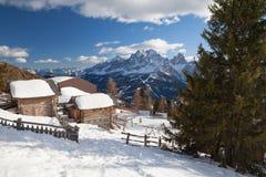 Monte Elmo, Dolomites, Italy - Mountain skiing and snowboarding. Sexten Sesto, Trentino-Alto Adige, Puster Valley Alta Pusteria. Monte Elmo, Dolomites, Italy royalty free stock photography