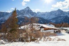 Monte Elmo, Dolomites, Italy - Mountain skiing and snowboarding. Sexten Sesto, Trentino-Alto Adige, Puster Valley Alta Pusteria royalty free stock photography