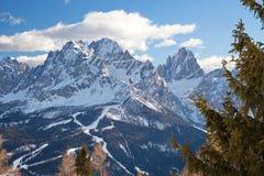 Monte Elmo, Dolomites, Italy - Mountain skiing and snowboarding. Sexten Sesto, Trentino-Alto Adige, Puster Valley Alta Pusteria royalty free stock images