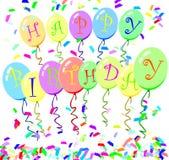 monte en ballon l'anniversaire heureux Photo libre de droits