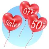 Monte en ballon l'illustration de vente de coeurs Image stock