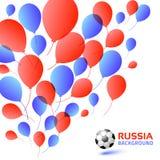 Monte en ballon le fond bleu de couleur rouge Couleurs de drapeau du Russe 2018 Icône de ballon de football Illustration de vecte Photos libres de droits
