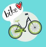 Monte en bicicleta con vector plano del diseño del mensaje del amor de la bici Fotos de archivo libres de regalías