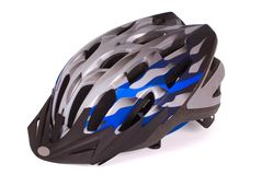 Monte en bicicleta el casco imagen de archivo libre de regalías