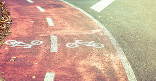 Monte en bicicleta el símbolo del camino en carril de la bici con otoño Imagen de archivo libre de regalías