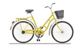 Monte en bicicleta el vehículo del pedal con el icono aislado vector de la cesta del viaje Fotografía de archivo