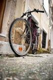 Monte en bicicleta en un callejón Foto de archivo