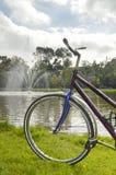 Monte en bicicleta la comida campestre en el lago idílico en un día soleado Fotos de archivo libres de regalías