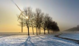 Monte en bicicleta la pista en un paisaje de niebla e hivernal Foto de archivo