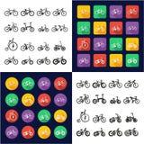 Monte en bicicleta todos en los iconos uno negros y el diseño plano del color blanco fijado a pulso Fotografía de archivo