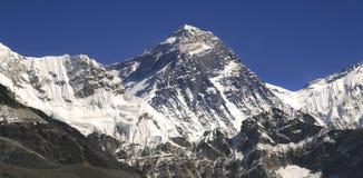 Monte Everest e Hillary Step em montanhas de Himalaya Imagem de Stock