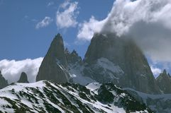 Monte Fitz Roy. Scenic view of cloudscape over Monte Fitz Roy peaks, Southern Patagonia Ice Field, Argentina and Chile border royalty free stock photos