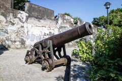 Monte Fort cannon and fortified walls Macau Stock Image