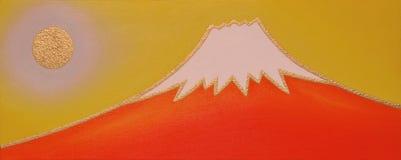 Monte Fuji vermelho com Sun dourado Foto de Stock