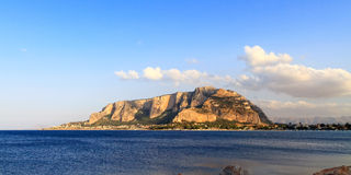 Monte Gallo. At the bay of Mondello near Palermo in Sicily, Italy before sunset royalty free stock photos