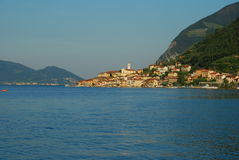 Lake Iseo, Monte Isola, Italy. The village of Peschiera Maraglio on Montisola island, Iseo lake, Italy stock photos