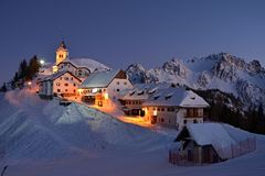 Monte Lussari - village in the Alps royalty free stock image