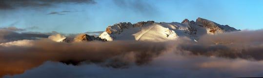 Monte Marmolada, montanhas das dolomites dos cumes, Itália Imagens de Stock Royalty Free