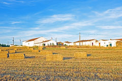 Monte Novo with hay bales in Portugal Royalty Free Stock Photo