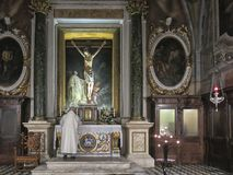 Monte Oliveto Maggiore修道院的巴洛克式的内部是一个大本尼迪克特的修道院在托斯卡纳的意大利区域 库存照片
