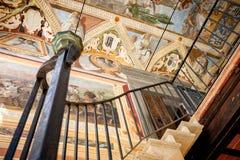 MONTE OLIVETO, TOSKANA Der barocke Innenraum und die Freskos der Abtei von Monte Oliveto Maggiore ist Nahe Siena Italien Lizenzfreie Stockbilder