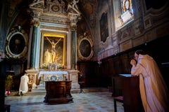 MONTE OLIVETO, TOSKANA Der barocke Innenraum und die Freskos der Abtei von Monte Oliveto Maggiore ist Nahe Siena Italien Lizenzfreie Stockfotos