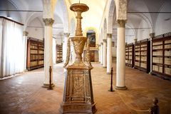 MONTE OLIVETO, TOSKANA Der Bibliotheksinnenraum und die Freskos der Abtei von Monte Oliveto Maggiore ist Nahe Siena Italien Lizenzfreies Stockbild