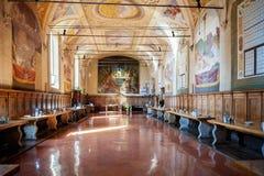 MONTE OLIVETO, TOSKANA Der Kantineninnenraum und die Freskos der Abtei von Monte Oliveto Maggiore ist Nahe Siena Italien Stockbilder