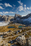 Monte Paterno with Blue Lakes-Tre Cime,Dolomites Royalty Free Stock Photos
