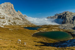 Monte Paterno with Blue Lakes-Tre Cime,Dolomites Stock Photos