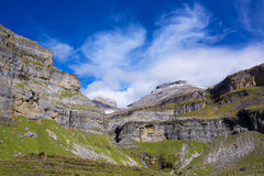 Monte Perdido and Soum Raymond at Soaso circus in Ordesa Valley Royalty Free Stock Photography