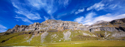 Monte Perdido and Soum Raymond at Soaso circus in Ordesa Valley Stock Image